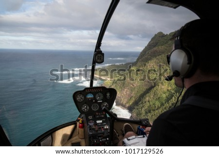 Above Napail Coast - Hawaii - with helicopter