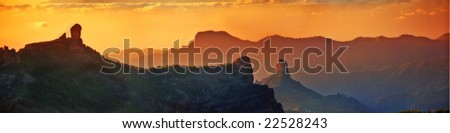 Above the clouds - a landscape panorama of mountains in Grand Canary, Spain