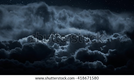 Above the clouds at night with stars #418671580