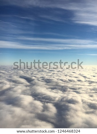 Above the clouds, city ariel view #1246468324
