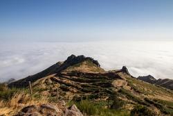 above the clouds in Madeira, Paul da Serra, with a lot of sun and blue sky
