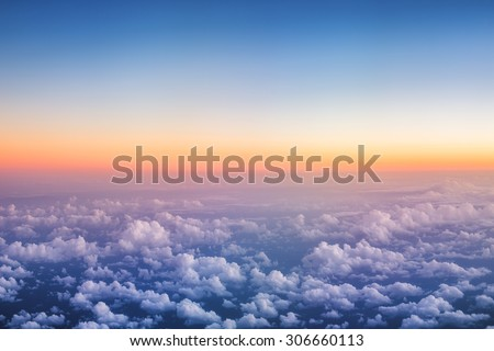 Above The Clouds Photo of puffy clouds, sunset shot