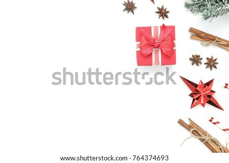 Photo of Above view aerial image of decoration & ornament merry Christmas & Happy new year background concept.Table top essential accessories on white wood at home office desk.free space for creative design.