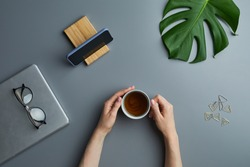 Above view flat lay of female hands holding coffee cup over grey workplace background with business gadgets and tropical leaf, copy space