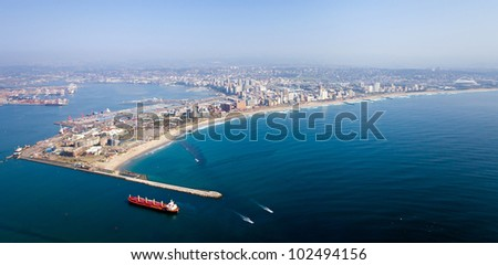 above view of durban city and harbor, south africa