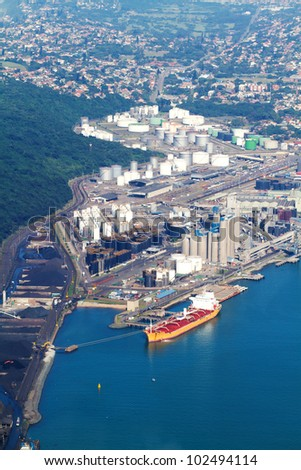 above view of durban harbour fuel storage zone