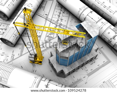 Above view of new modern building with crane placed engineering project