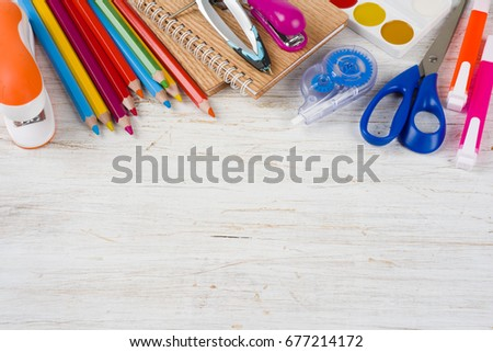 Above view of school and office supplies with copy space #677214172
