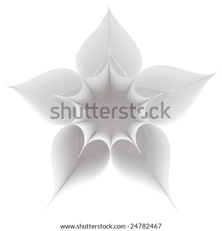 Above view of several paper hearts forming flower with empty centre