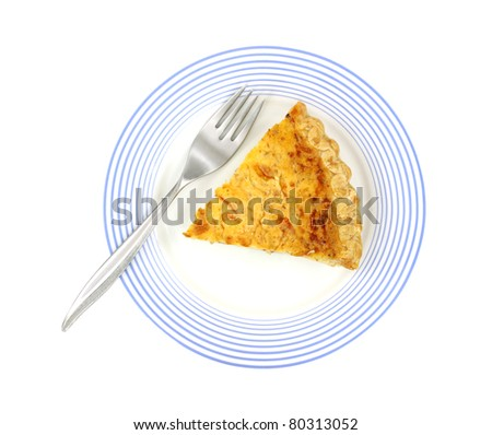 Above view of single slice of quiche lorraine on a blue striped plate with fork.