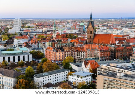 Above view of the Marktkirche and Hannover City, Germany