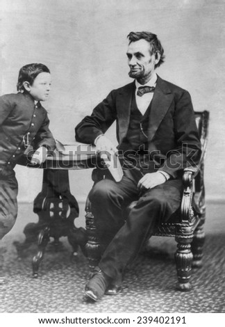 Abraham Lincoln (1809-1856) and his son Thaddeus (also called Thomas and Tad). This Alexander Gardner portrait of Feb. 5, 1865 was Lincoln's last photography sitting.
