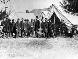 Abraham Lincoln at Antietam, (l-r) Col. Alexander S. Webb, Gen. George B. McClellan, Scout Adams, Dr. Jonathan Letterman, OCtober 3, 1862.