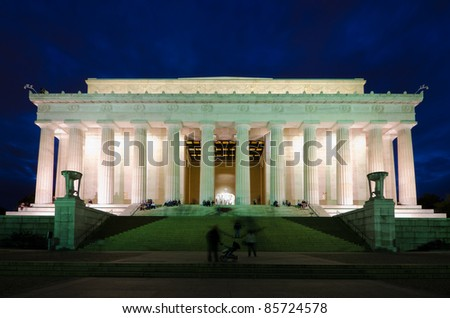 Abraham Lincoln Memorial in night, Washington DC, USA