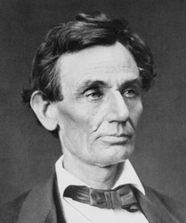 Abraham Lincoln (1809-1865), portrait of June 3, 1860 by Alexander Hesler. This is one of three portraits made that day, after Lincoln had won the Republican nomination and before he grew his beard.