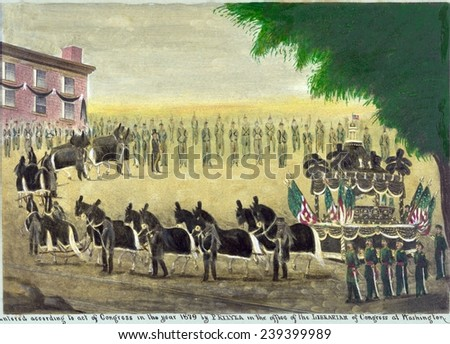 Abraham Lincoln\'s funeral car in New York City on April 26th, 1865 in folk art style painting. Lincoln\'s funeral train left Washington on April 21, 1865 to arrive at Springfield for burial May 4th.