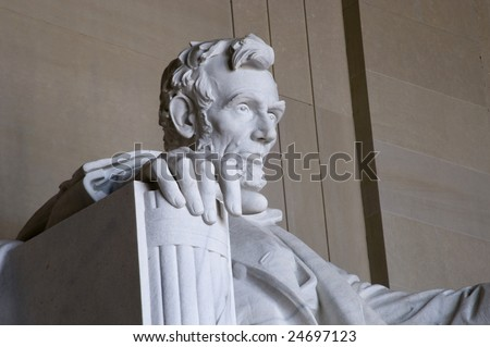 Abraham Lincoln Statue at the Lincoln Memorial in Washington DC - stock photo