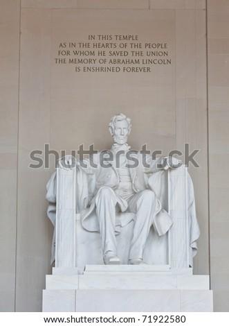 Abraham Lincoln statue in the Lincoln Memorial in Washington DC - stock photo