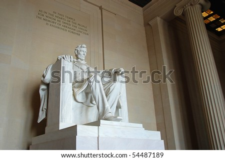 The Lincoln Memorial Statue. in the Lincoln Memorial,