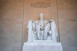 Abraham LIncoln statue inside Lincoln Memorial, built to honor the 16th President of the United States of America, Washington DC, USA