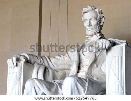 Abraham LIncoln statue inside Lincoln Memorial, built to honor the 16th President of the United States of America, Washington DC, USA Stock photo ©