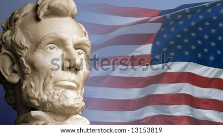 Abraham Lincoln, the sixteenth President of the United States, with the current flag of the USA.