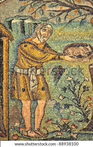 Abraham offers a gift to three mysterious strangers, who predict that he will be a father again. Scene from UNESCO listed byzantine mosaics in the St Vitalis basilica, Ravenna,  Italy