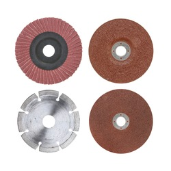 Abrasive sandpaper disk,Stone cutting blade disk, Abrasive brown disk,for grinder isolated on white background with clipping path included.