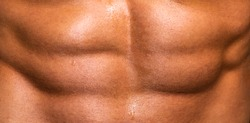 Abs. Closeup torso. Ab. Bodybuilder with muscular torso and ripped abs