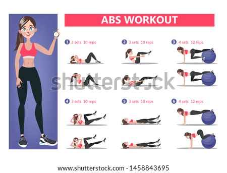 ABS workout for women. Sport exercise for perfect abs. Fit body and healthy lifestyle. Muscle training. Isolated  illustration