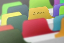 absence word on index card