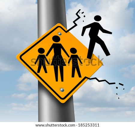 Absent dad or deadbeat father concept as a traffic sign with a mother and two children and a daddy icon abandoning and leaving the family to avoid child support after a divorce or separation. Stock photo ©