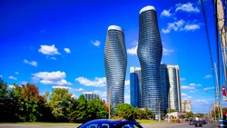 Absolute World is a residential condominium twin tower skyscraper complex in the five tower Absolute City Centre development in Mississauga, Ontario, Canada