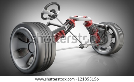 absorber,  brake pads and Wheels. High resolution 3d render