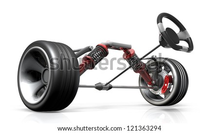 absorber,  brake pads and Wheels Isolated on white background. High resolution 3d render