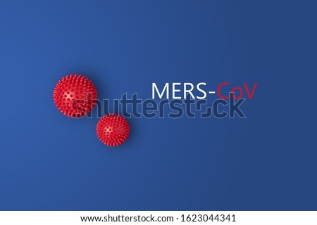 Abstarct virus strain model of MERS-Cov or middle East respiratory syndrome coronavirus and Novel coronavirus 2019-nCoV with text on blue background. Virus Pandemic Protection Concept