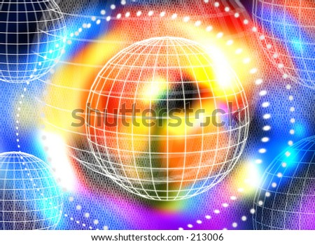 Abstarct wire-frame worlds over bright colours