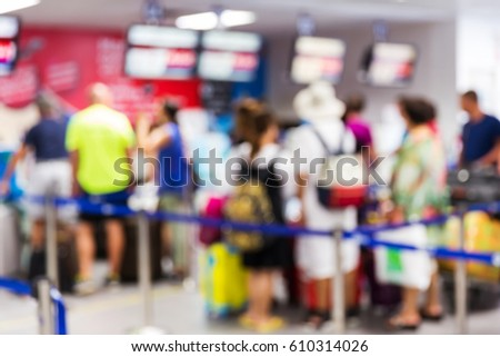 Abstrack blur people check in at airport, passenger, que, travel, tourism, business concept #610314026