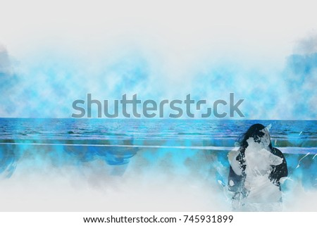 Abstract a girl looking blue sea and sky on beach watercolor painting background.