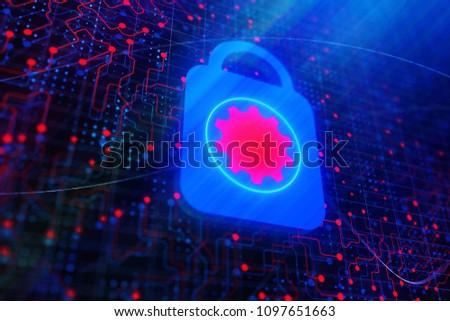 Abstract access denied digital padlock on glowing circuit wallpaper. 3D Rendering
