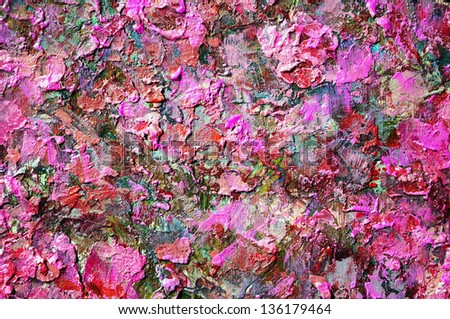 abstract acrylic gouache red color hand painted background. uneven rough surface backdrop.