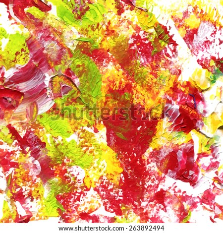 abstract acrylic painted background in red, yellow and green