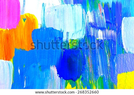 Abstract acrylic painting. Colorful multicultural city. Blue houses. Art Background. Backgrounds & textures shop.