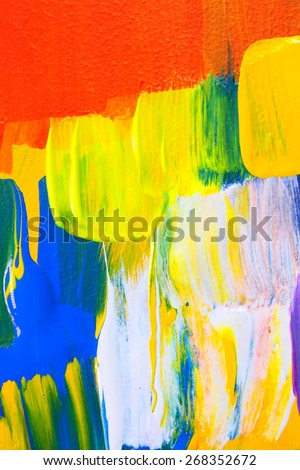 Abstract acrylic painting. Colorful multicultural city. Yellow lights. Art background. Backgrounds & textures shop.