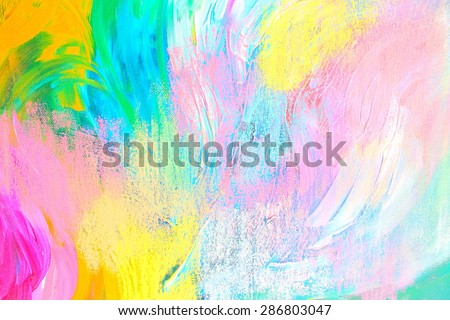 Abstract acrylic painting with crayons. Pink, yellow and blue. Backgrounds & textures shop.