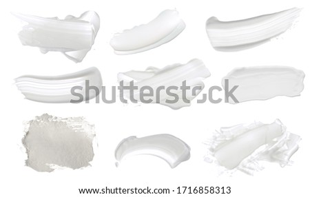 Abstract acrylic white color smear brush stroke. Isolated on white background. Collection. Foto stock ©