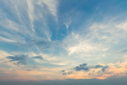 abstract air blue dusk sky dramatic sunny background with white clouds sunset.