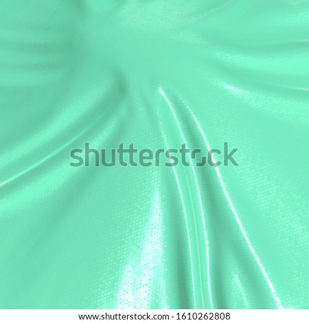 Abstract and shiny luxury silk cloth in shape of liquid wave with folds. Satin or velvet material background in popular Aqua Menthe color. 3d illustration Stock photo ©