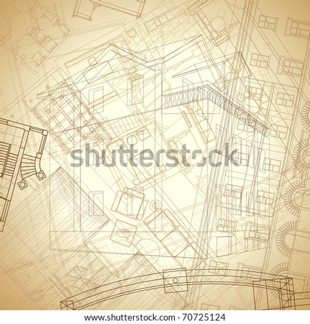 Abstract architectural background in vintage sepia colors. Raster version. Vector version is also available.