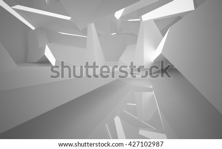 Abstract architectural background of the polygons. 3D illustration. 3D rendering  #427102987